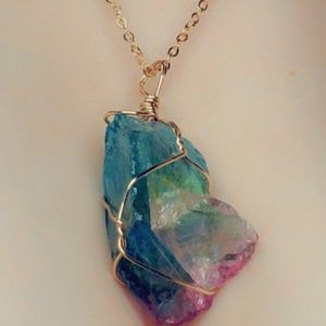 AdoreStore Jewelry - Rainbow crystal quartz healing energy necklace